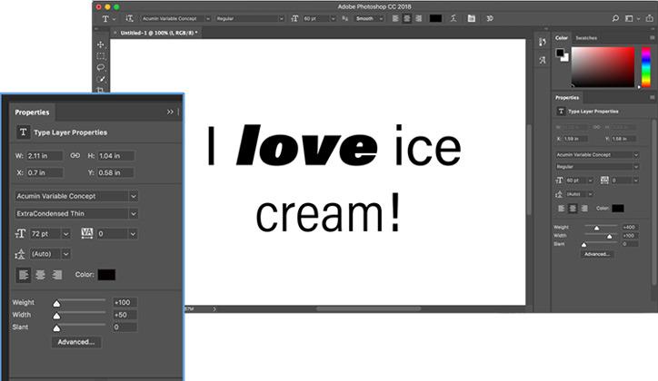 الخطوط المتغيرة في برنامج Photoshop
