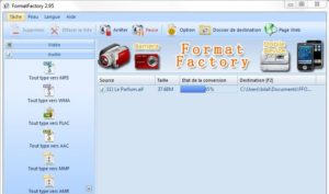 صورة من واجهة تشغيل برنامج Format Factory