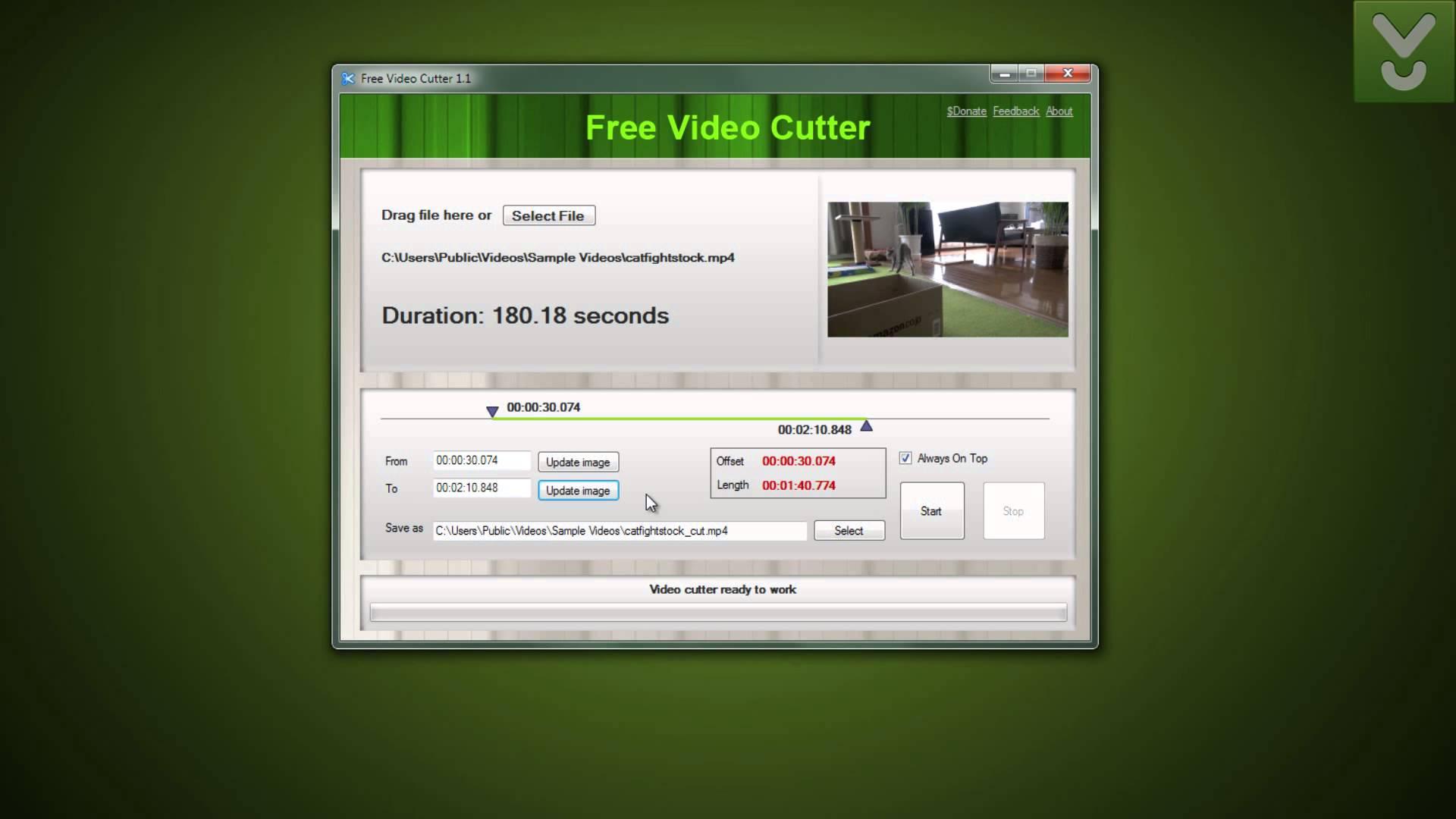 طريقة قص الفيديوهات من خلال برنامجFree Video Cutter