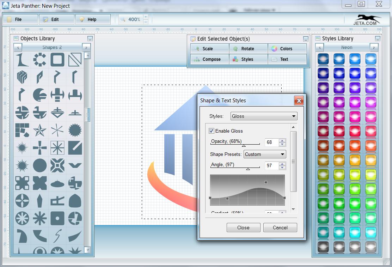 الرسوم والتأثيرات في برنامج تصميم الشعارات