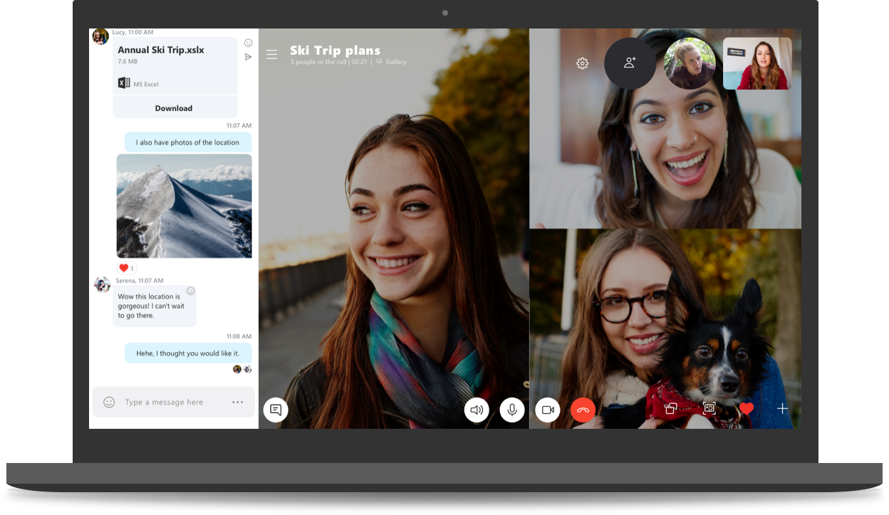 برنامج سكايب لاجراء مكالمات الفيديو الجماعية