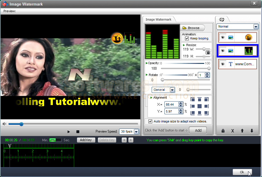 صورة من برنامج الكتابة على الفيديو