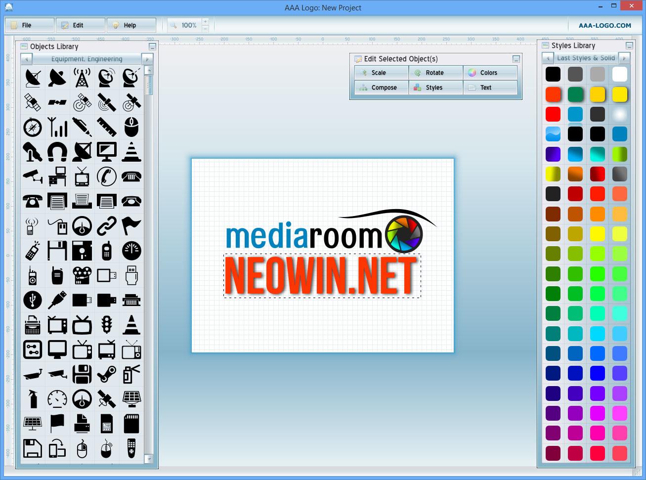 ادوات برنامج تصميم الشعارات الجديد
