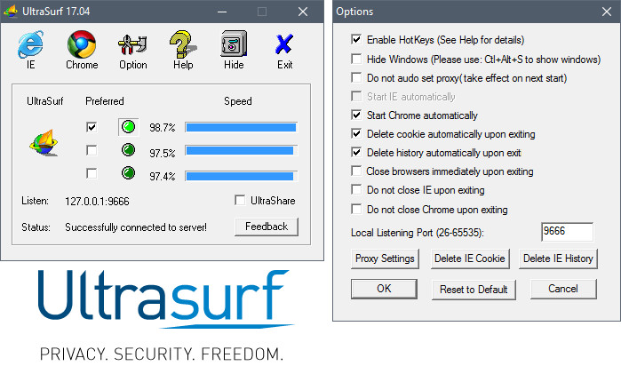 برنامج UltraSurf يساعد في فك الحظر