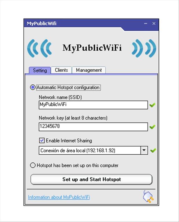 صورة من واجهة برنامج تحويل اللاب توب الى روتر