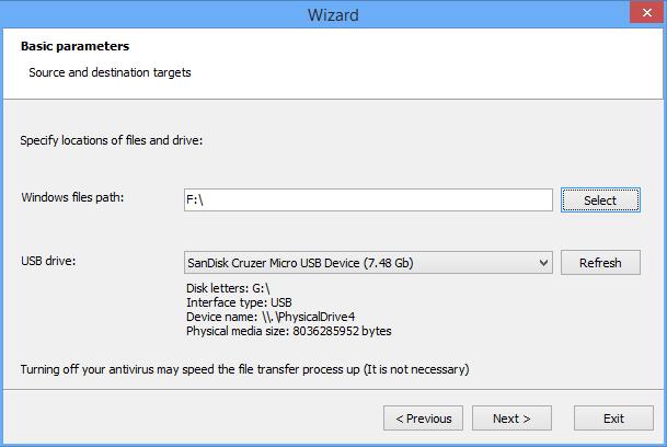 صورة من واجهة برنامج نسخ الويندوز على فلاشه