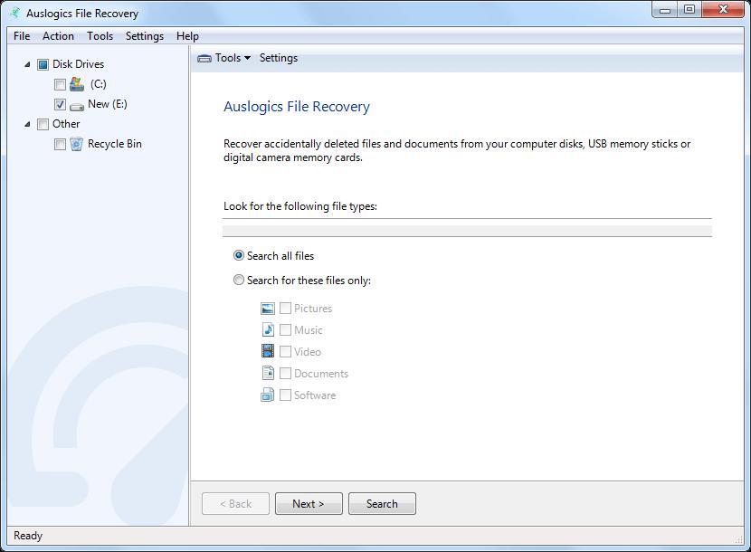 صورة من واجهة برنامجAuslogics File Recovery