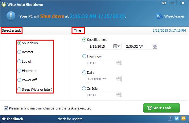 تنفيذ العمليات في برنامج قفل الجهاز بوقت Wise Auto Shutdown