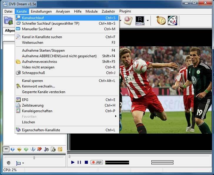 يوفر برنامج Dvb Dream للكمبيوتر امكانية البحث عن القنوات