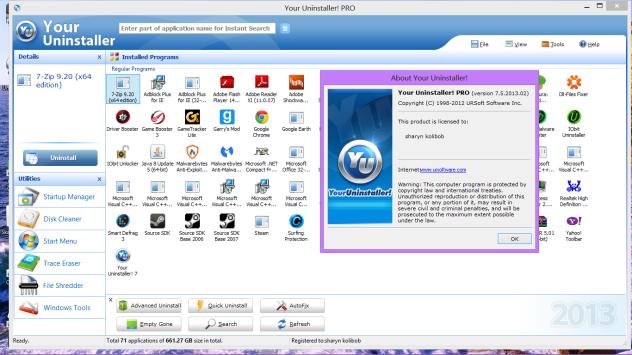 الخيارات المتعددة في برنامج ازالة البرامج من جذورها Your Uninstaller للكمبيوتر