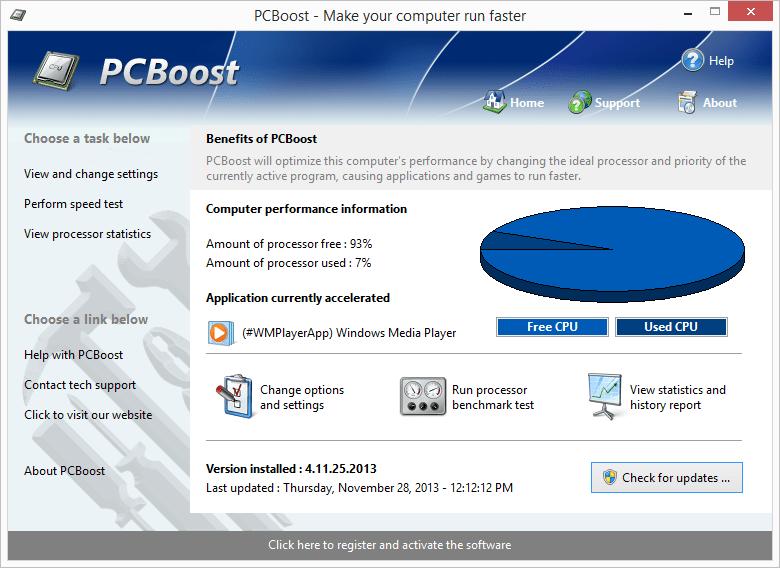قدرة برنامج Computer Games Acceleration للكمبيوتر علي تحسين وتسريع الالعاب