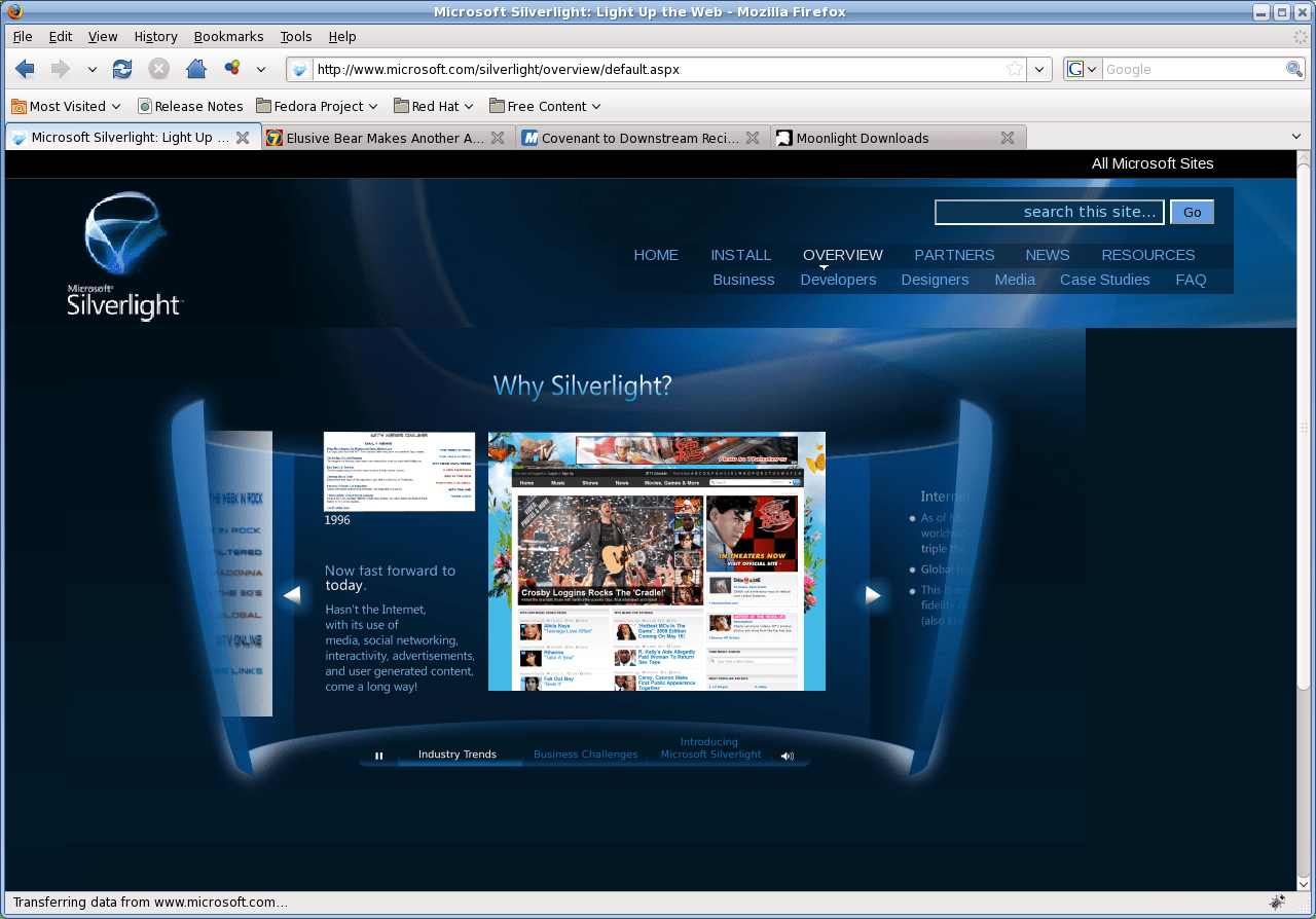 دعم المتصفحات في برنامج Microsoft Silverlight للكمبيوتر