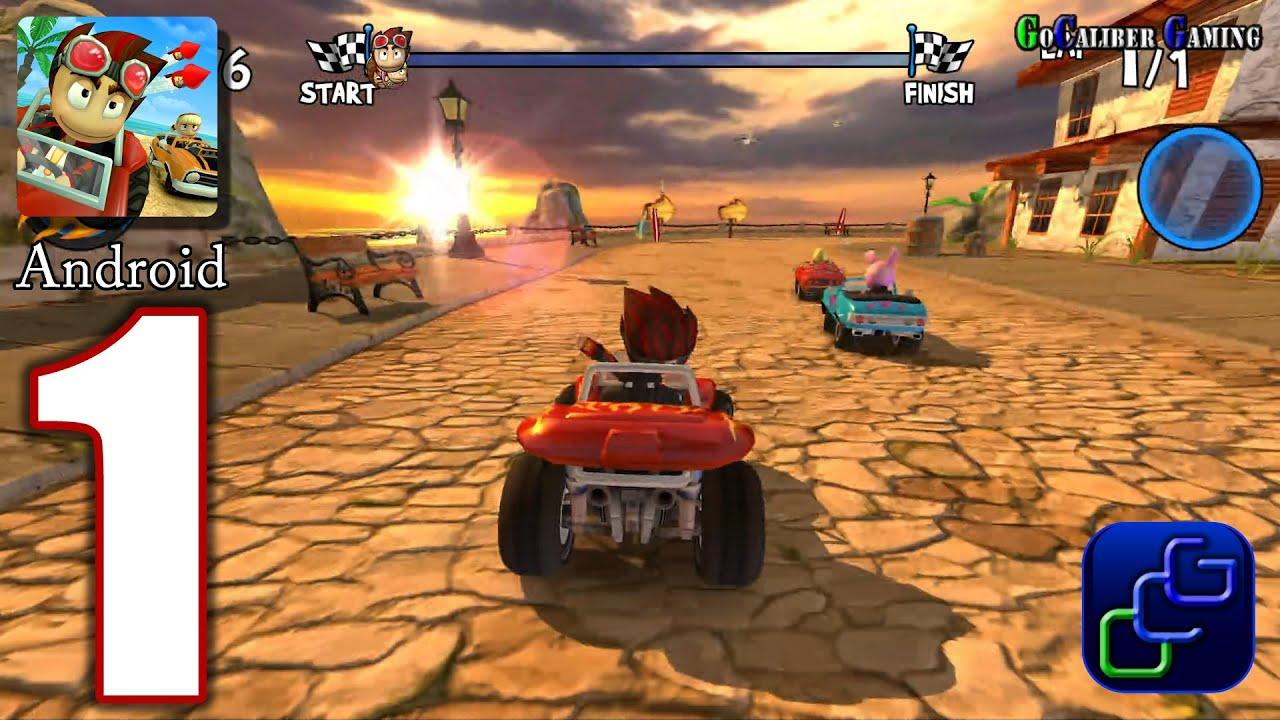 احتواء لعبة موتسكلات الشاطئ beach buggy racing علي مسارات متعددة