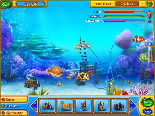 الجرافيك في لعبة Feeding Frenzy 1 السمكه القديمة